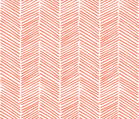Freeform Arrows in true coral fabric by domesticate on Spoonflower - custom fabric