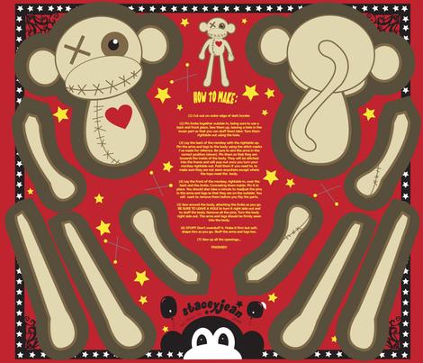 "FQ - 12"" VooDoo Monkey Plush Cut & Sew Doll fabric by pumpkinbones on Spoonflower - custom fabric"