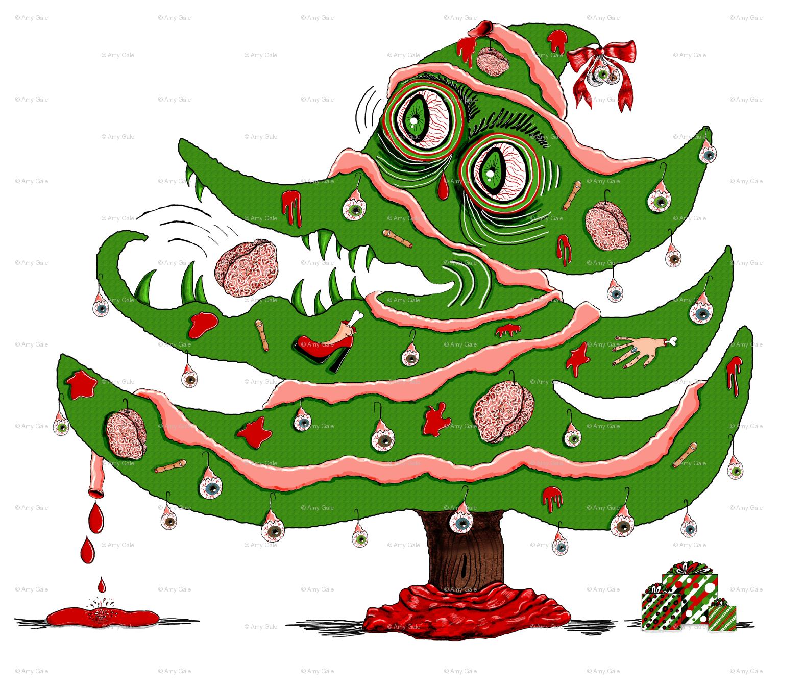 Zombie Christmas Tree, large scale fabric - amy_g - Spoonflower