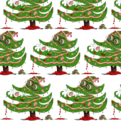 Zombie Christmas Tree small scale fabric by amy_g on Spoonflower - custom fabric