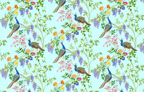 Peacock Chinoiserie fabric by mcsparrandesign on Spoonflower - custom fabric