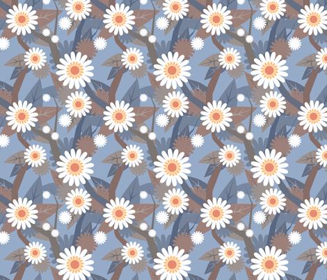 blue daisies fabric by jennifurryrabbit on Spoonflower - custom fabric
