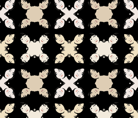 fourfaces fabric by jennifurryrabbit on Spoonflower - custom fabric