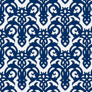Cobalt Blue Imperial Damask