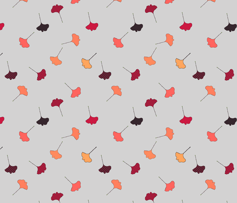gray tossed ginko repeat fabric by megancarroll on Spoonflower - custom fabric