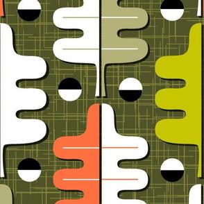 Oakhurst (Maxi Green)    midcentury modern graphic oak leaf leaves barkcloth bark cloth texture geometric upholstery