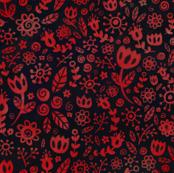 Scandinavian Flowers - Red on Black