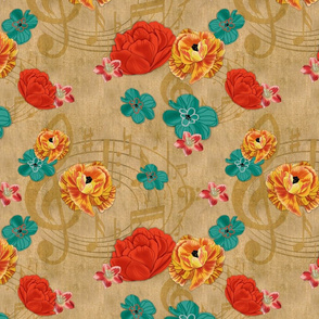 Music Floral on burlap