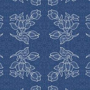 Single batik-style flower mirrored - denim blue pattern - zoom to see details