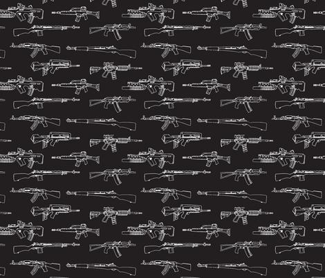 Bring On The Big Guns-Black fabric by lauramarshdesigns on Spoonflower - custom fabric