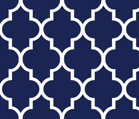 Classic Navy and White Quatrefoil fabric by willowlanetextiles on Spoonflower - custom fabric