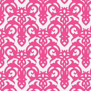 Hot pink Imperial Damask