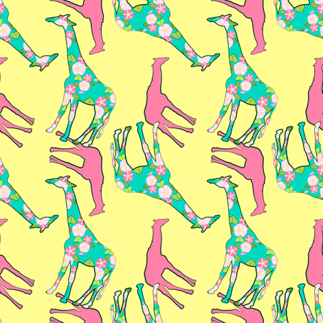 Floral Giraffe Pattern fabric by anderson_designs on Spoonflower - custom fabric