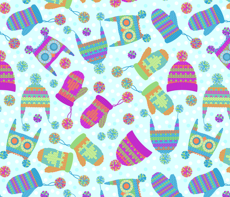 A flurry of mittens and hats fabric by cjldesigns on Spoonflower - custom fabric