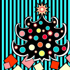 Retro Pop Christmas Tree Panel or Wall Hanging