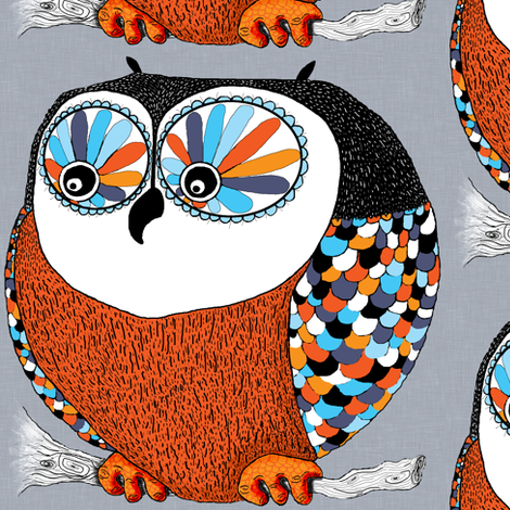 Roly-Poly Owl, large scale fabric by amy_g on Spoonflower - custom fabric