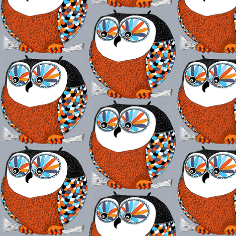 Roly-Poly Owl, small scale fabric by amy_g on Spoonflower - custom fabric