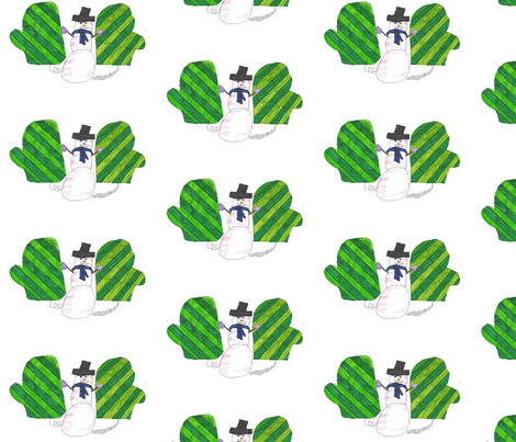 mittens building a snowman fabric by giathechief on Spoonflower - custom fabric
