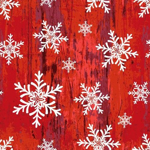 Old Red Wood With Snowflakes