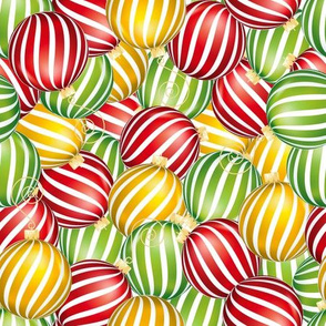 Striped Christmas Ornaments Jumble - Red
