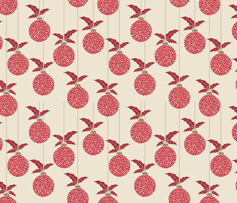Polka Dot Christmas Ornaments - Red Gold fabric by diane555 on Spoonflower - custom fabric