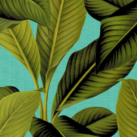 Palm In Palm ~ Tropical Blue Linen ~ Medium fabric by peacoquettedesigns on Spoonflower - custom fabric