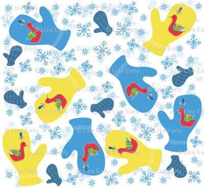 stitched mittens with snowflakes