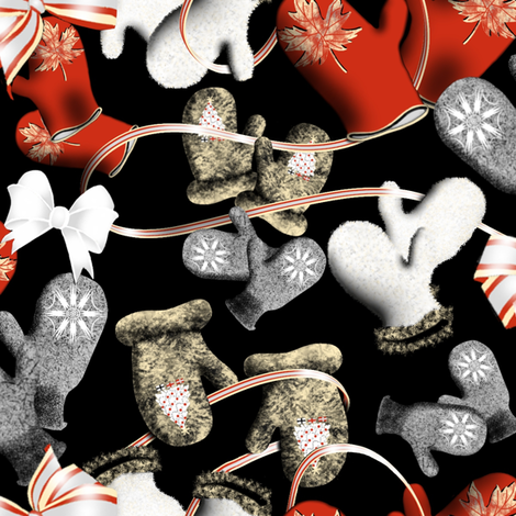 Mittens_and_Ribbons_ fabric by art_on_fabric on Spoonflower - custom fabric