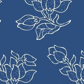 Vector sm batik flower - white on blue - half-brick