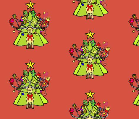 reindeer_christmas1_redbackground1 fabric by leslie_gardner on Spoonflower - custom fabric