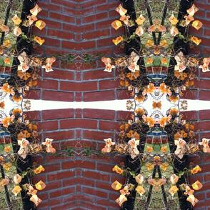 Orange bougainvillea and brick