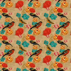 Birds Floral Music on burlap