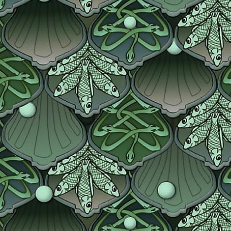 Mermaid's Wedding Feast  jade fabric by glimmericks on Spoonflower - custom fabric