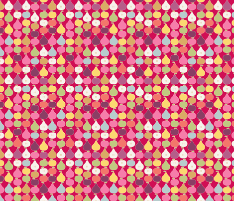 pomme_poire_fond_rouge_S fabric by nadja_petremand on Spoonflower - custom fabric
