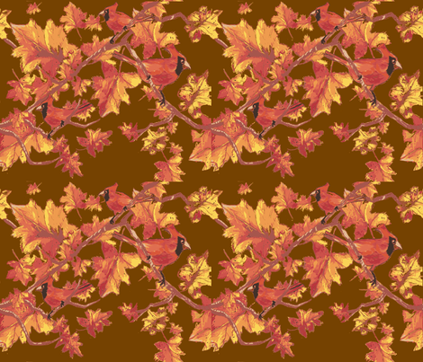 autum_cardinals12-ch fabric by leslie_gardner on Spoonflower - custom fabric