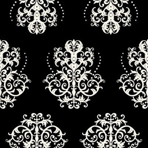 Cream Damask on Black