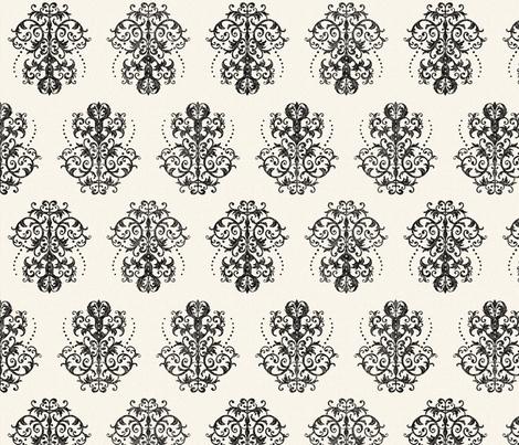Damask in Black on Cream fabric by jolenebalyeatdesigns on Spoonflower - custom fabric