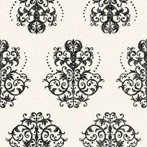 Damask in Black on Cream