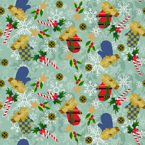 Mittens & Flakes_Abound fabric by kelly_a on Spoonflower - custom fabric