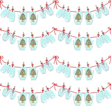Christmas Mitten Garland fabric by karenharveycox on Spoonflower - custom fabric