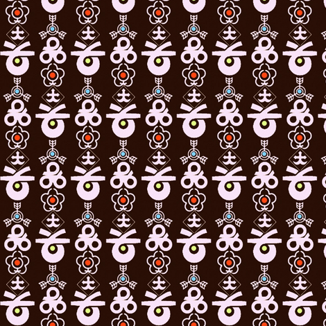 Japanese Municipal Crest Stripe on Chocolate fabric by boris_thumbkin on Spoonflower - custom fabric