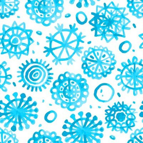 blue snowflake seamless pattern