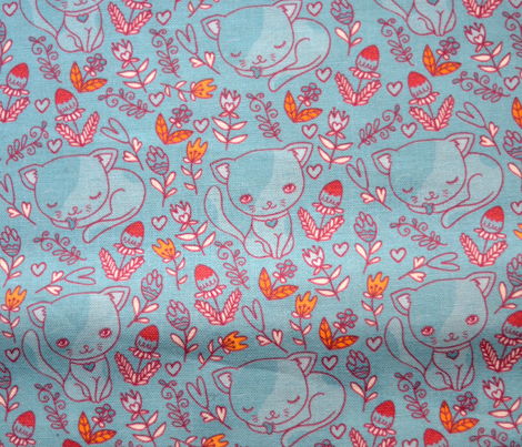 blue cute kitten and flowers seamless pattern