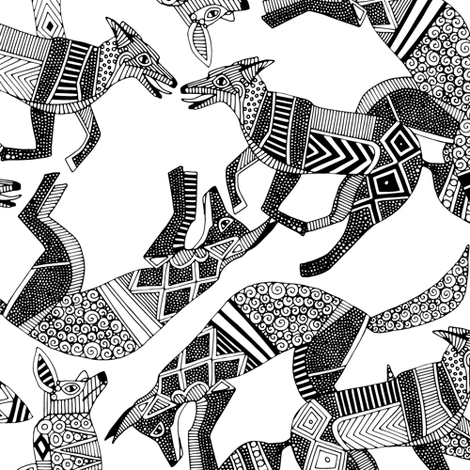 woodland fox party black white fabric by scrummy on Spoonflower - custom fabric
