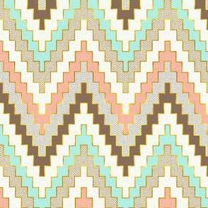 Telluride Bright Mint and Coral Chevron