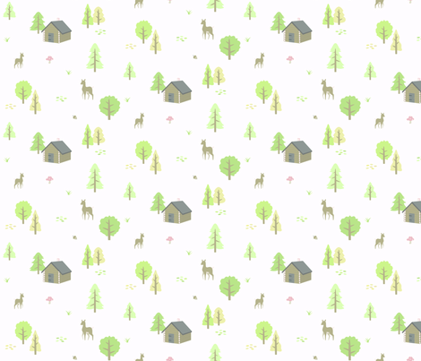 Forest Cabin - Spring fabric by lunasol on Spoonflower - custom fabric