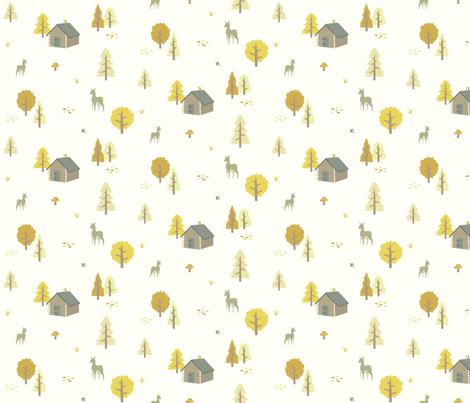 Forest Cabin - Autumn fabric by lunasol on Spoonflower - custom fabric