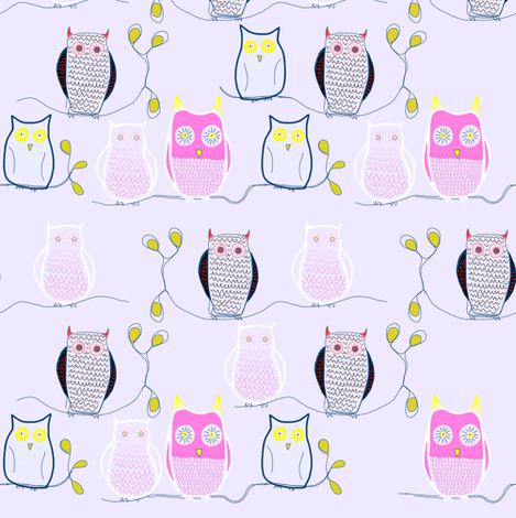 Knitted owls fabric by samdraws on Spoonflower - custom fabric