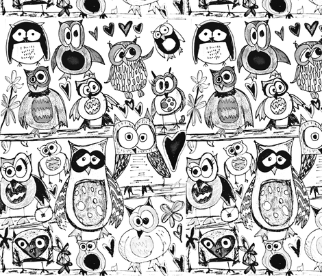 Color in Owls fabric by vibrantkicks on Spoonflower - custom fabric