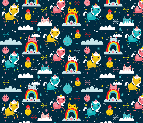 Space cuties fabric crowdedteeth spoonflower for Space unicorn fabric